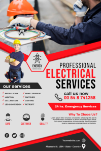 electrical service flyer template Баннер 4' × 6'