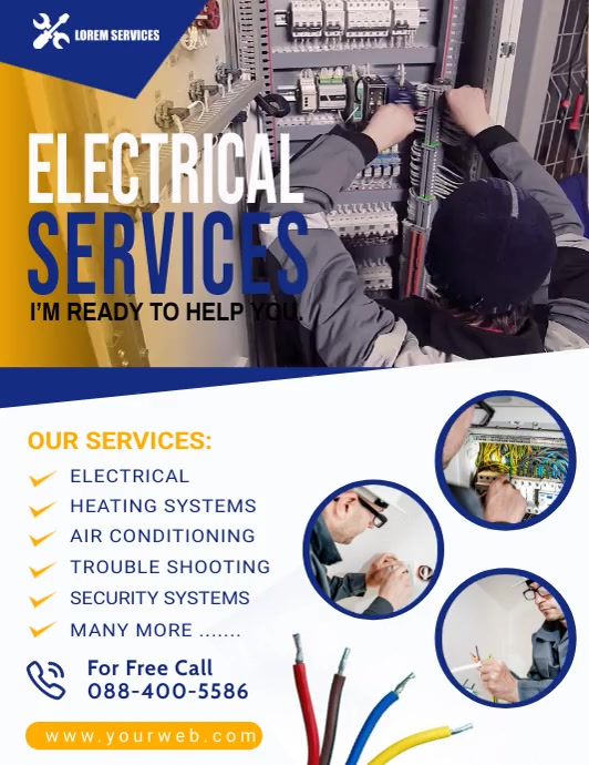 Electrical Service Video Poster Temp Flyer (US Letter) template