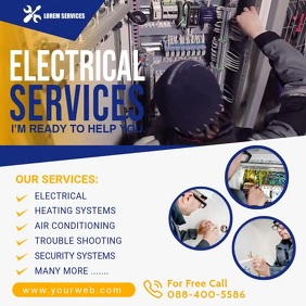 Electrical Service Video Poster Temp Square (1:1) template
