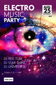 Electro Music Party Stars Night Galaxy Spirit