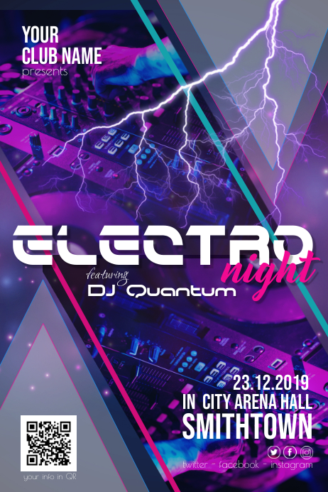 Electro Night Dj Disco Party Flyer Poster