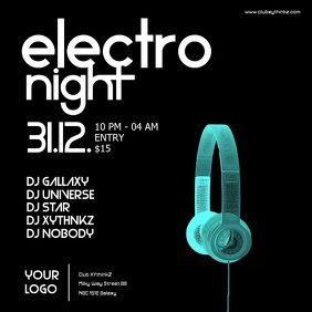 Electro Night Headphones Electronic Music Event Party