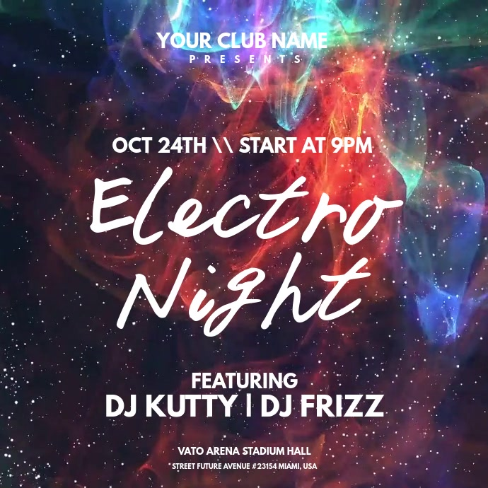 Electro Night Instagram 帖子 template