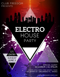 Electro Party Flyer Template Design Ulotka (US Letter)