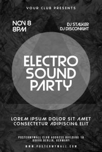 Electro Sound Party Black White Poster