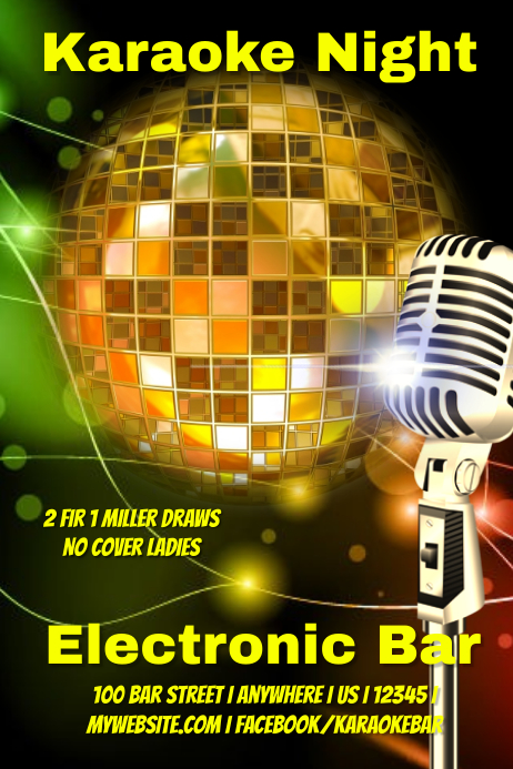 electronic karaoke bar poster template postermywall