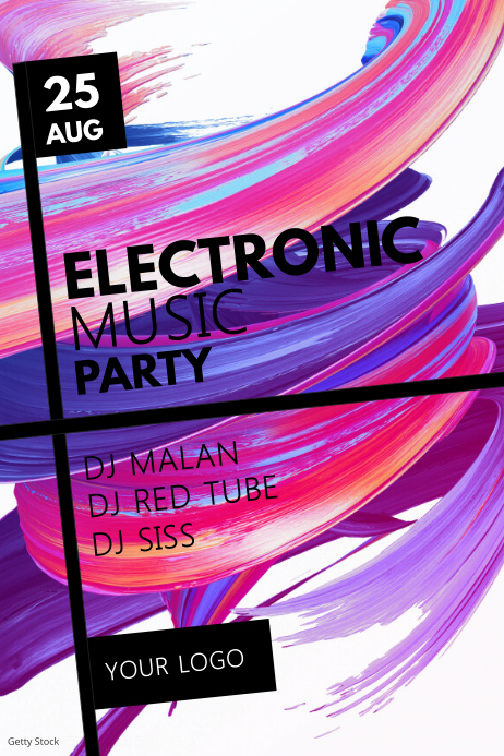 Electronic Music Party Event Club Bar Poster template