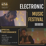 Electronica concert music festival ad with mu Wpis na Instagrama template