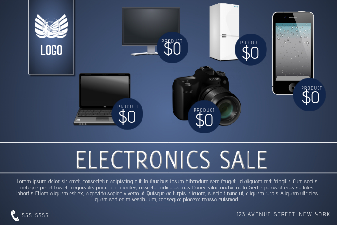 electronics sale flyer template phone tv laptop postermywall