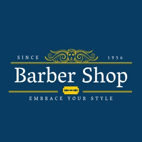 Elegant barber shop logo template design