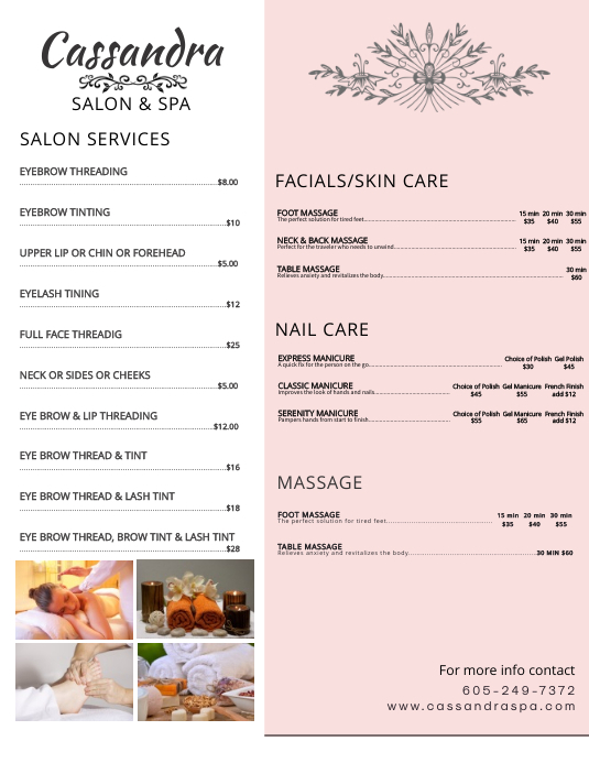 Elegant Beauty & Spa Price List Flyer Template