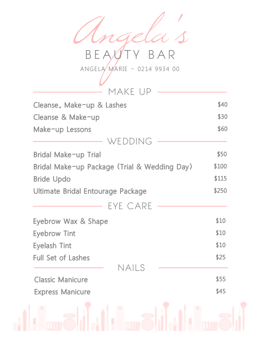 Elegant Beauty Price List Flyer Template