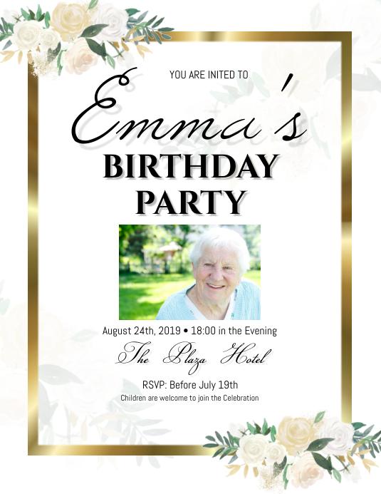elegant birthday rose Invitation Template
