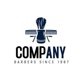 elegant blue and black barbershop logo