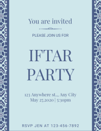 Elegant Blue Iftar Party Flyer Template