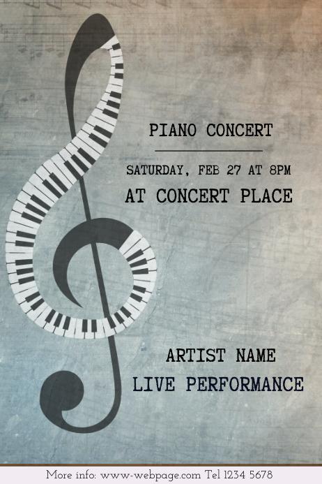 Elegant Brown Piano Concert Portrait Poster Template