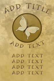 elegant butterfly, old paper and golden lette