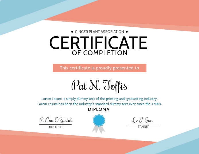 graphic about Printable Certificates of Completion named Sophisticated Certification Of Completion Layout Template PosterMyWall