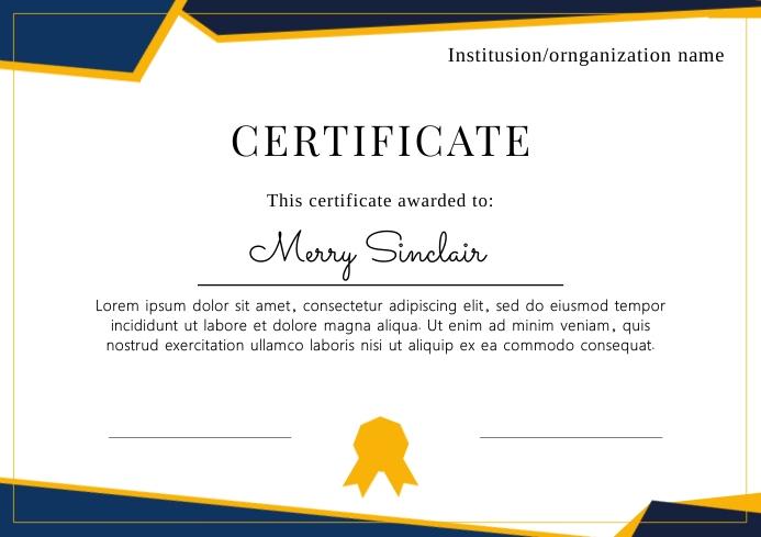 Elegant certificate organization template A4