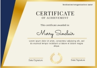 Elegant certificate V2 organization template A4