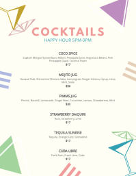 Elegant Cocktail Bar Menu Template Flyer (US Letter)