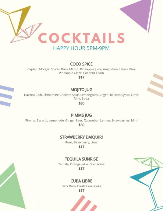 Elegant Cocktail Bar Menu Template