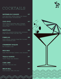 Elegant Cocktail Menu Templates Flyer (US Letter)