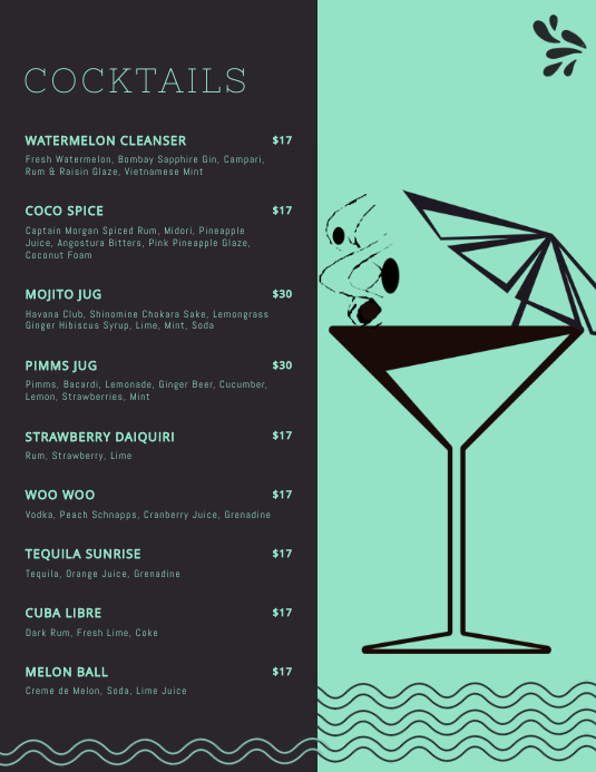 Elegant Cocktail Menu Templates
