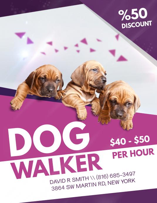 Elegant Fashionable Dog Walking Flyer Design template