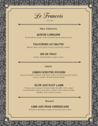Elegant French Menu Card Template