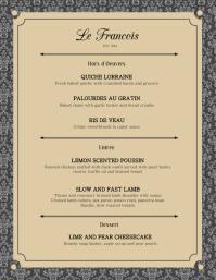 Elegant French Menu Card Template Iflaya (Incwadi ye-US)