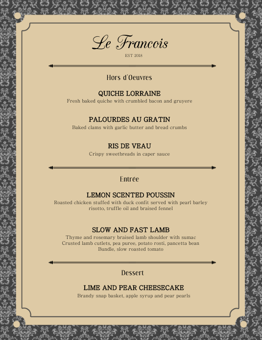 Elegant French Menu Card Template  Postermywall