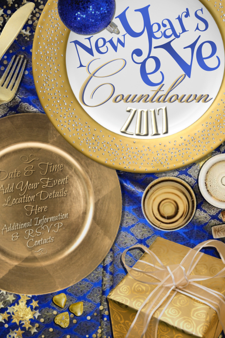 Elegant Gold New Year Eve Christmas Holiday Blue Party Event