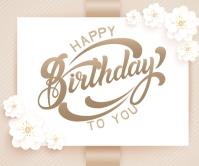 Elegant happy birthday card Large Rectangle template