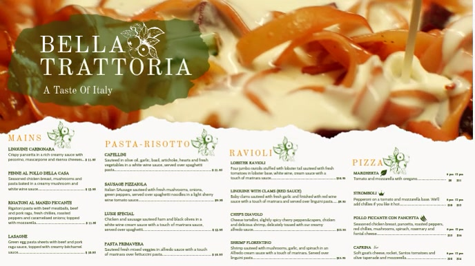 Elegant Italian Food Menu Template