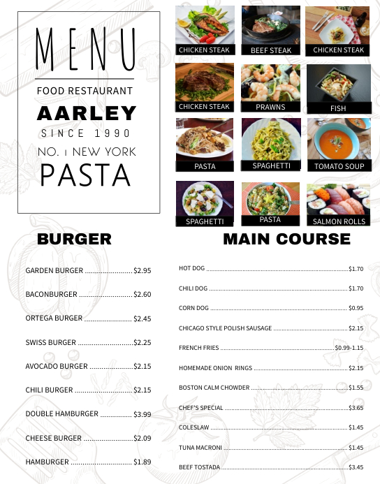 Elegant Pasta Menu Template  A La Carte Menu Template