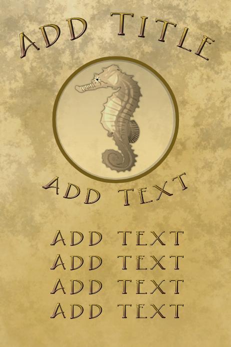 elegant seahorse, old paper and golden letter