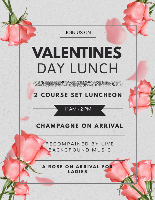 Elegant Valentines Lunch Flyer Template Volante (Carta US)