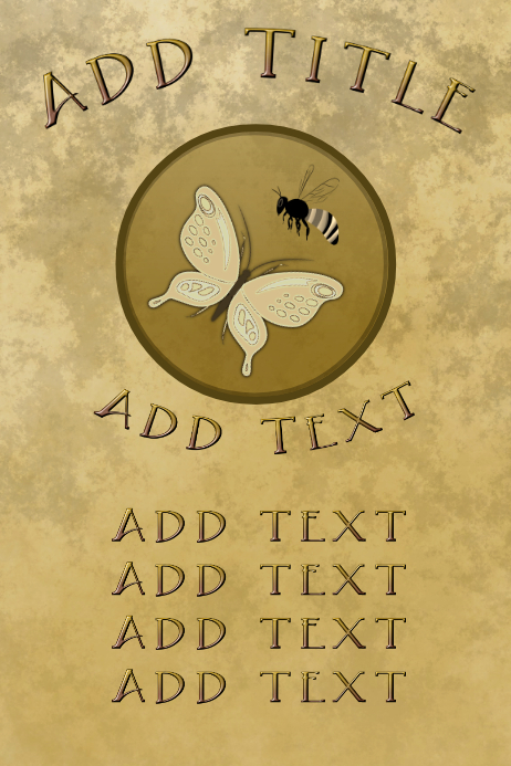 elegant wasp & butterfly, old paper and golde