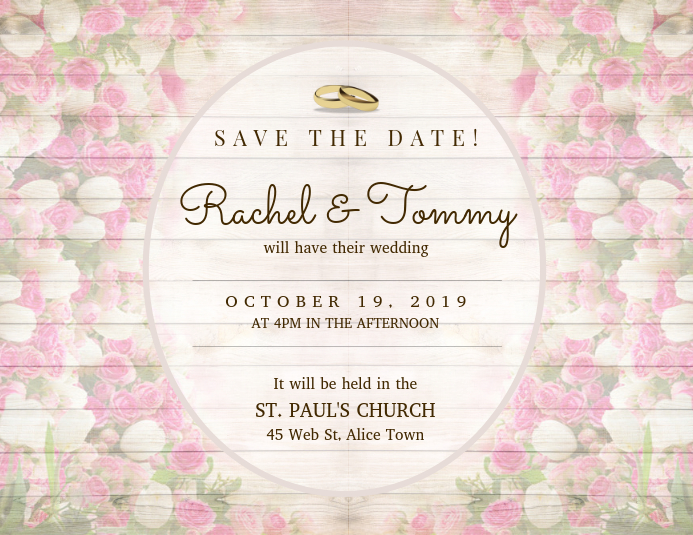Elegant Wedding Save The Date Card Template Flyer (US Letter)