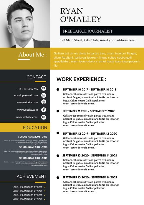 elegant white and gold and grey colors cv res A4 template
