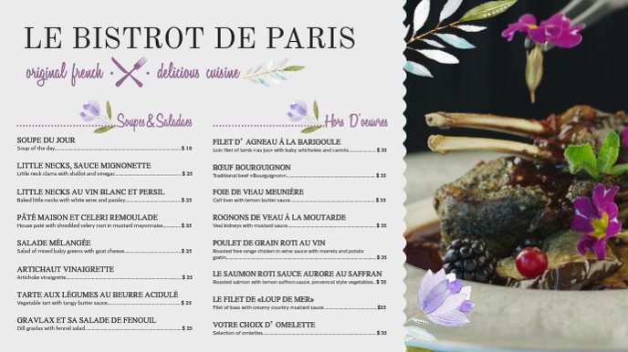 Elegant White French Menu Template Tampilan Digital (16:9)
