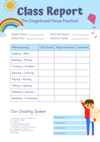 Elementary School Report Card A4 template