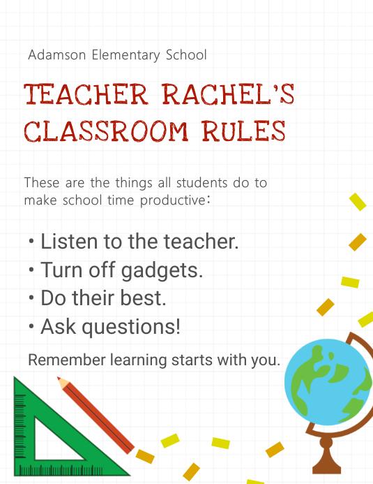 Grundschule Regeln Plakat Vorlage Druckbare-Vorlage | PosterMyWall