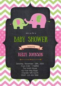 Elephant baby shower elephant invitation