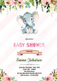Elephant baby shower invite invitation A6 template