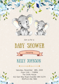Elephant baby shower party invitation A6 template