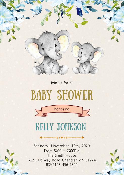 Elephant baby shower party invitation