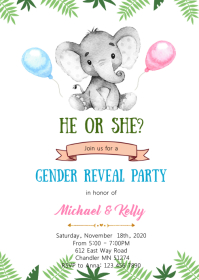 Elephant gender reveal invitation