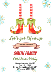 Elf Christmas Party Invitation A6 template